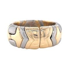 Vintage Bvlgari White Yellow 18 Karat Gold Parentesi Ring
