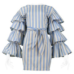 Vintage Byblos Blue & White Striped Wrap Top & Skirt Ensemble 1989