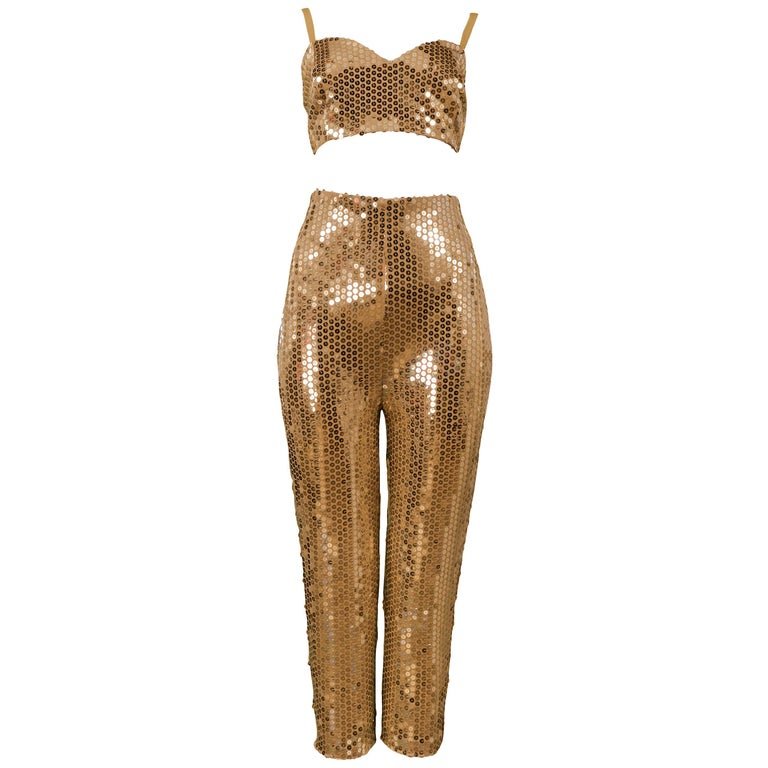 Byblos gold sequin bra top and cigarette pants, 1991, offered by Resurrection