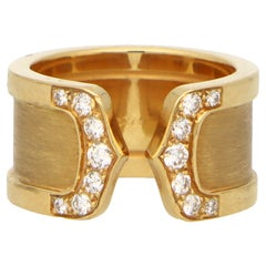 Vintage C de Cartier Diamond Band Ring Set in 18k Yellow Gold