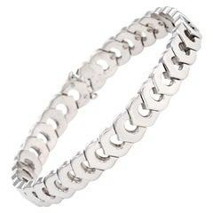 Vintage C de Cartier Link Bracelet 18k White Gold Estate Fine Jewelry Signed