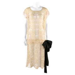 VINTAGE c.1920's Drop Waist Belted Black Bow Ivory Lace Sheer Cotton Shift Dress