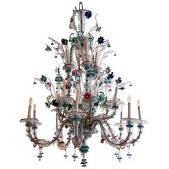 Vintage Ca' Rezzonico Murano Glass Chandelier, Galliano Ferro Attributed, 1940s