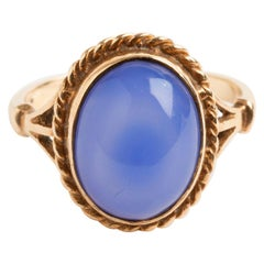 Vintage Cabochon Blue Chalcedony Dress Ring, 9 Karat Yellow Gold