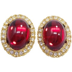 Vintage Cabochon Clip On Earrings In Gold, Ruby and Clear Crystals, 20th Century