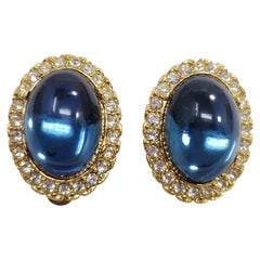 Vintage Cabochon Clip On Earrings In Gold, Sapphire and Clear Crystals
