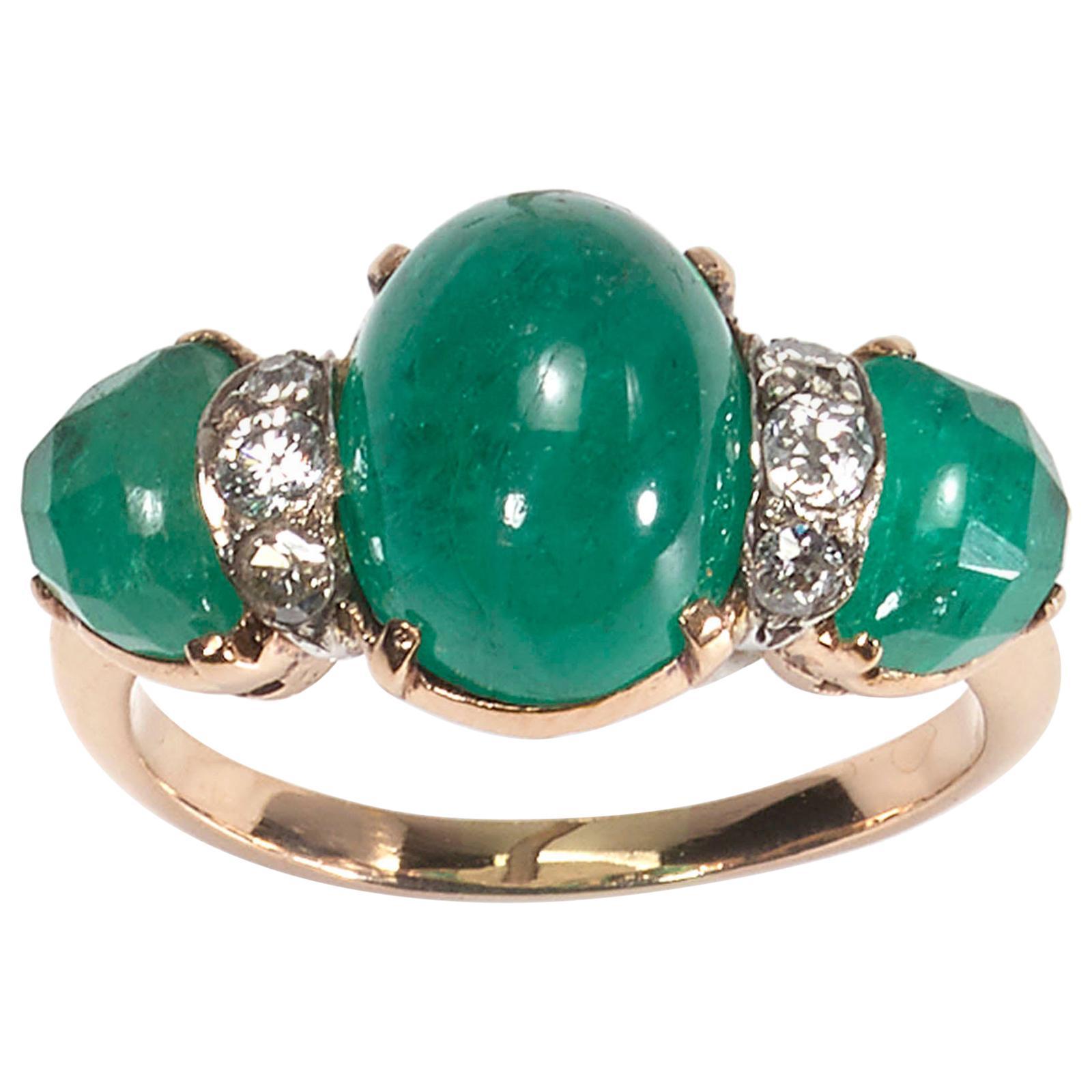 Vintage Cabochon Emerald and Diamond Three-Stone Ring