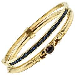 Vintage Cabochon Garnet with Sapphires Bracelet 14 Karat Yellow Gold