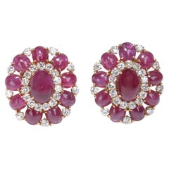 Vintage Cabochon Ruby and Diamond Earrings