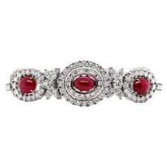 Vintage Cabochon Ruby and Diamond Platinum Bracelet, circa 1950s