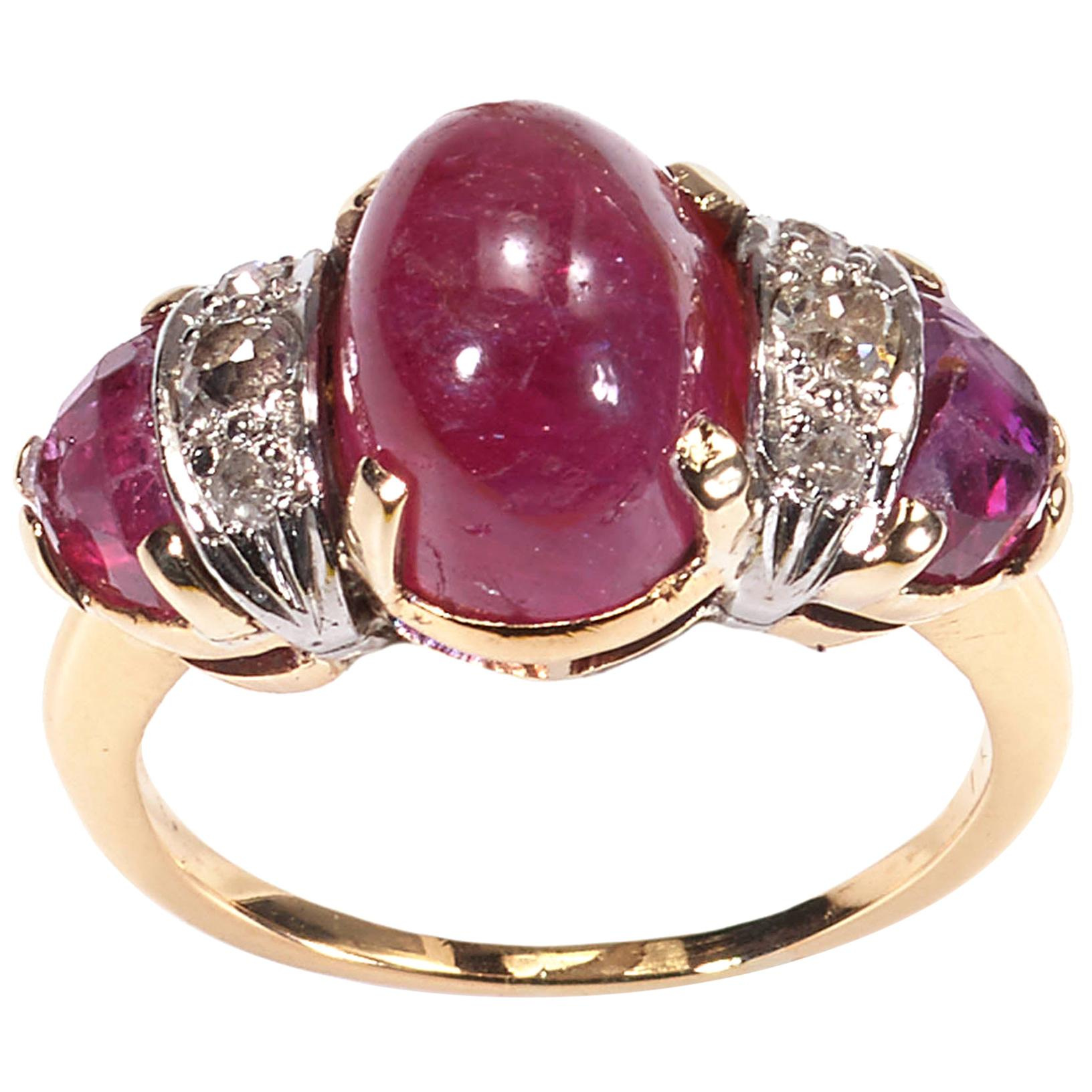 Vintage Cabochon Ruby and Diamond Three-Stone Ring