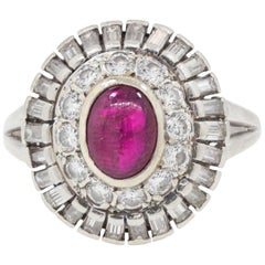 Vintage Cabochon Ruby and Diamond Platinum Ring