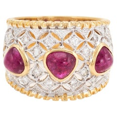 Vintage Cabochon Ruby Diamond Wide Band Ring 14k Gold Pinky Estate Jewelry 4.25
