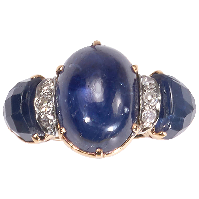 Vintage Cabochon Sapphire and Diamond Three-Stone Ring
