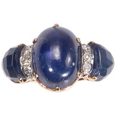 Vintage Cabochon Sapphire and Diamond Three-Stone Ring