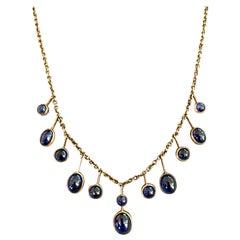 Vintage Cabochon Sapphire Drop 9 Karat Gold Necklace