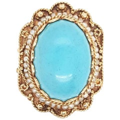 Vintage Cabochon Turquoise and Pearls Yellow Gold Ring