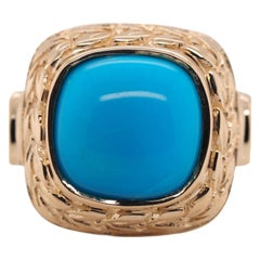 Vintage Cabochon Turquoise Yellow Gold Ring, circa 1980s