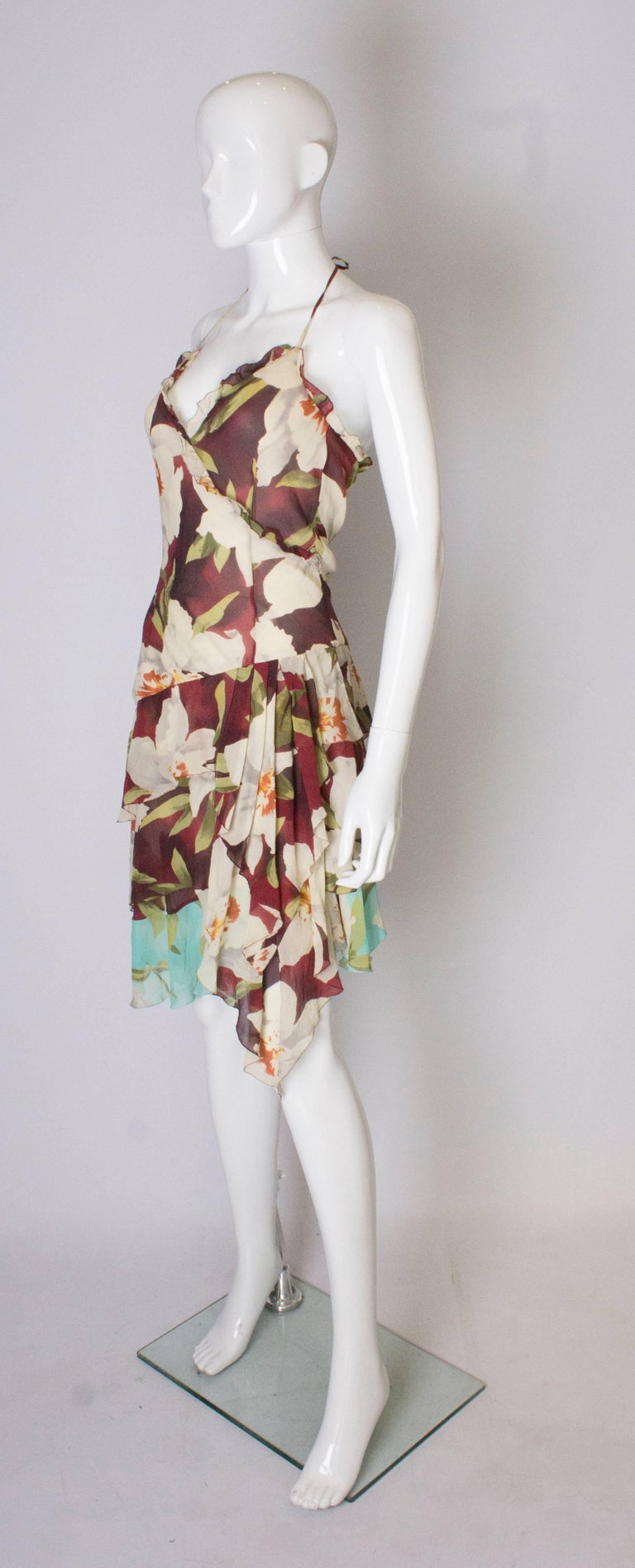 4f698a127df Beige A vintage 1990s floral pinted silk party dress by Cacharel For Sale