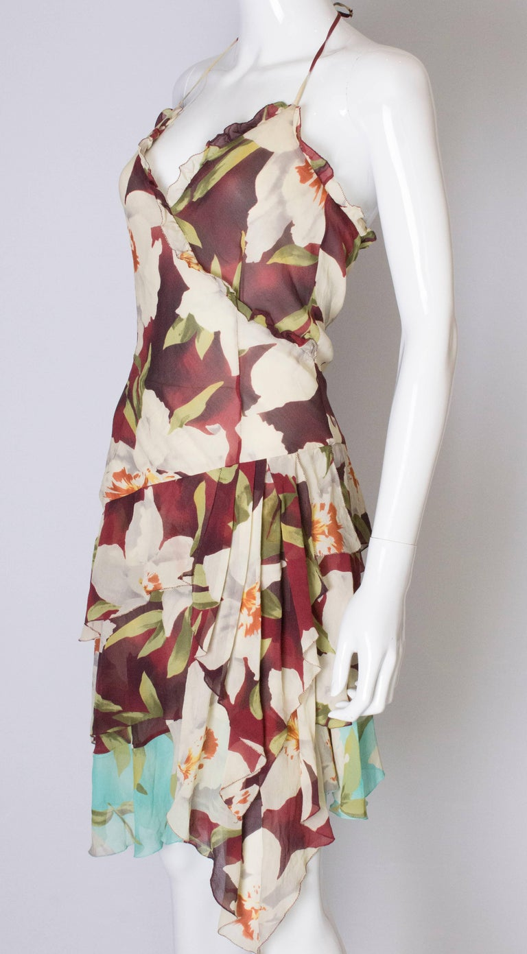 A vintage 1990s floral pinted silk party dress by Cacharel  In Good Condition For Sale In London, GB