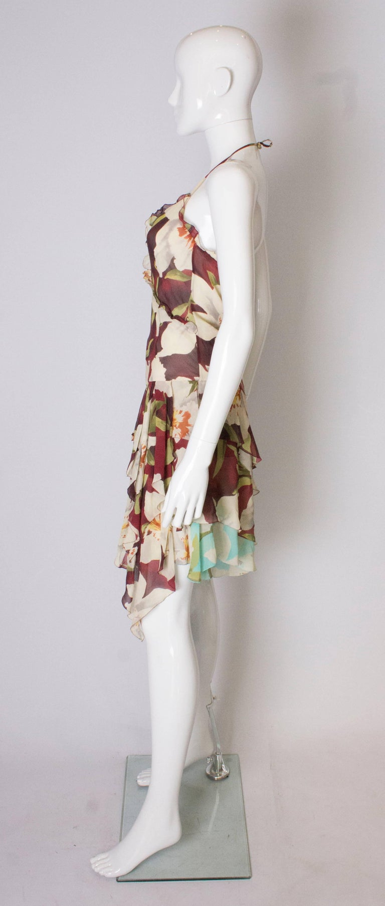 Women's A vintage 1990s floral pinted silk party dress by Cacharel  For Sale