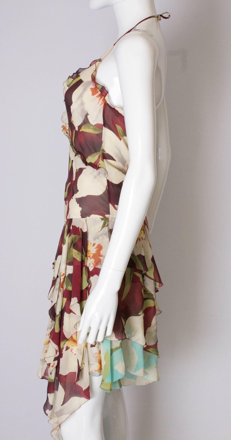 A vintage 1990s floral pinted silk party dress by Cacharel  For Sale 1