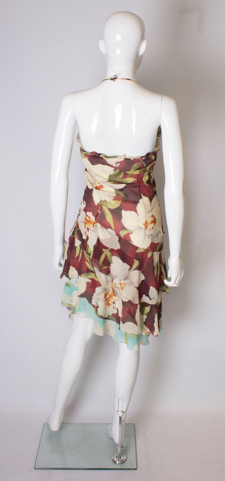 A vintage 1990s floral pinted silk party dress by Cacharel  For Sale 2