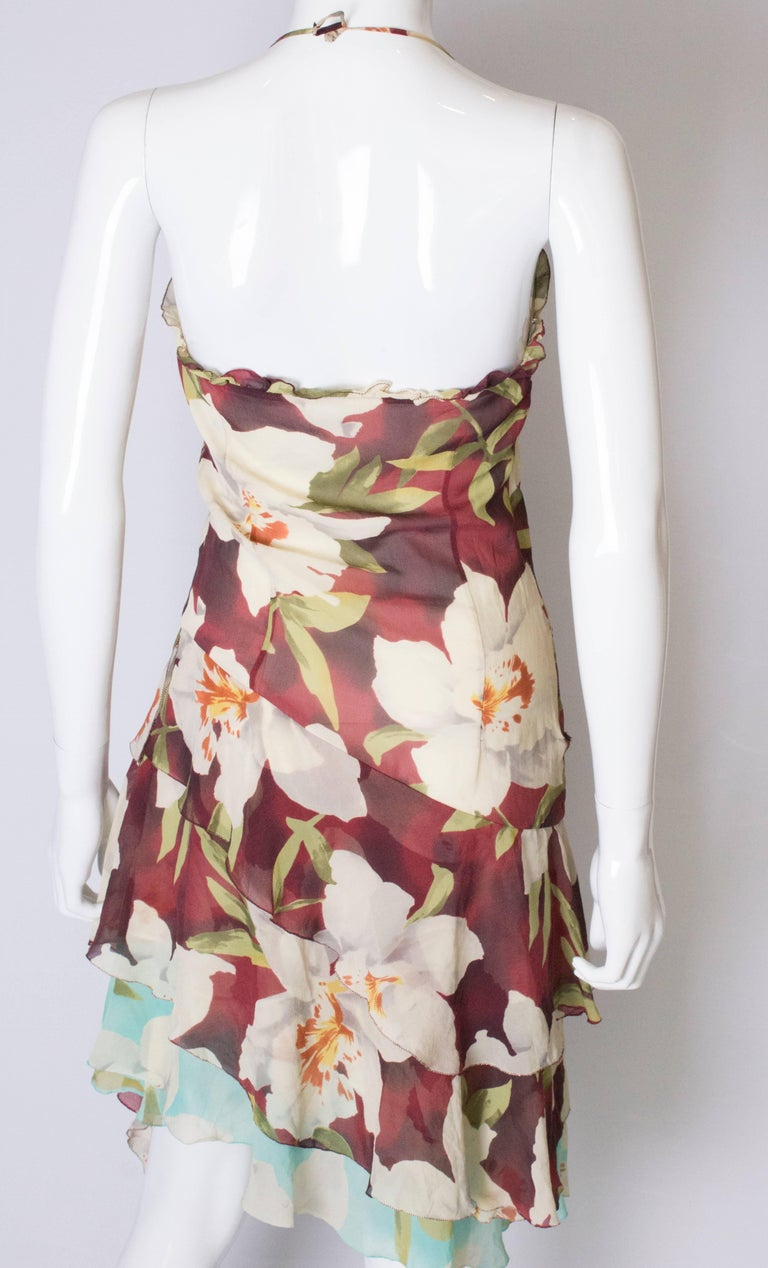 A vintage 1990s floral pinted silk party dress by Cacharel  For Sale 3