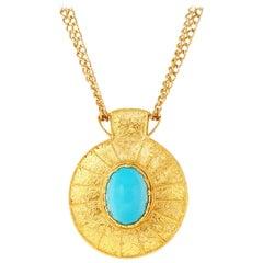 Vintage Cadoro Gilt & Turquoise Etruscan Revival Statement Necklace, 1970s