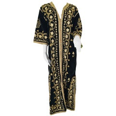 Vintage Caftan, Black Velvet and Gold Embroidered, 1960s