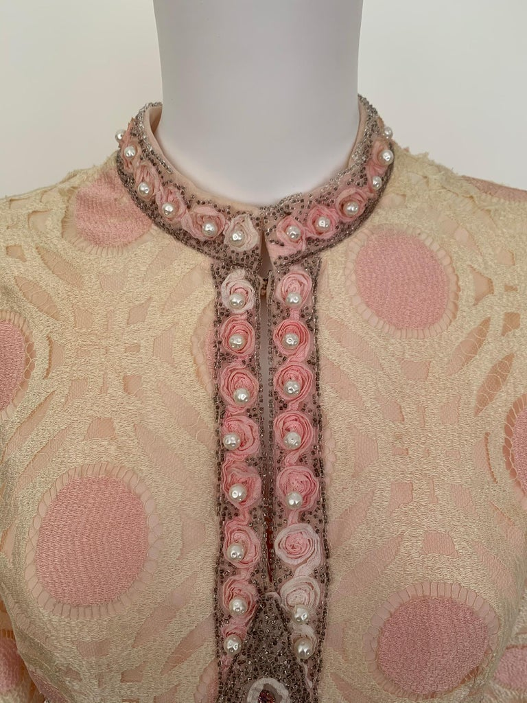 Brown Vintage Caftan Dress Embroidery 1960 For Sale