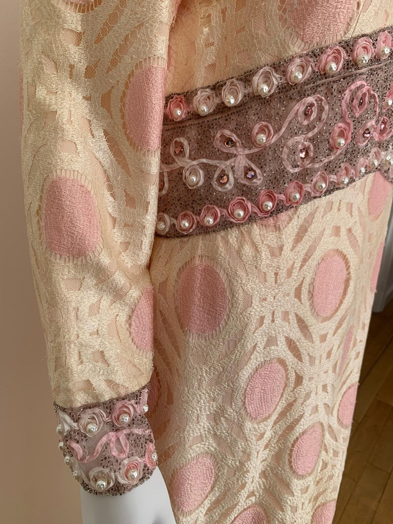 Women's Vintage Caftan Dress Embroidery 1960 For Sale