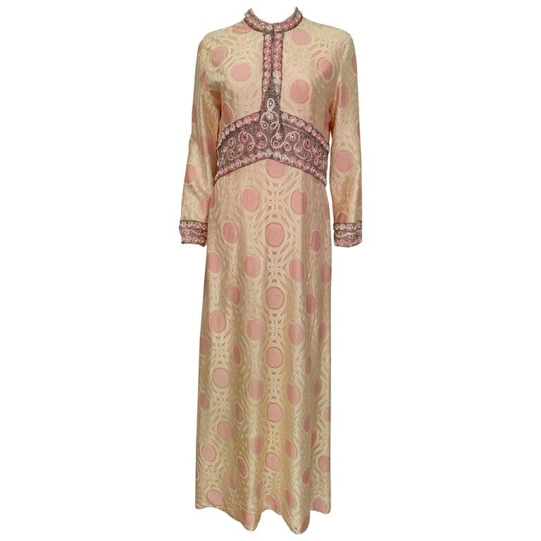 Vintage Caftan Dress Embroidery 1960 For Sale