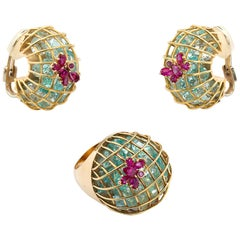 Vintage Caged Aquamarine Pink Sapphire Ring and Earclips Set
