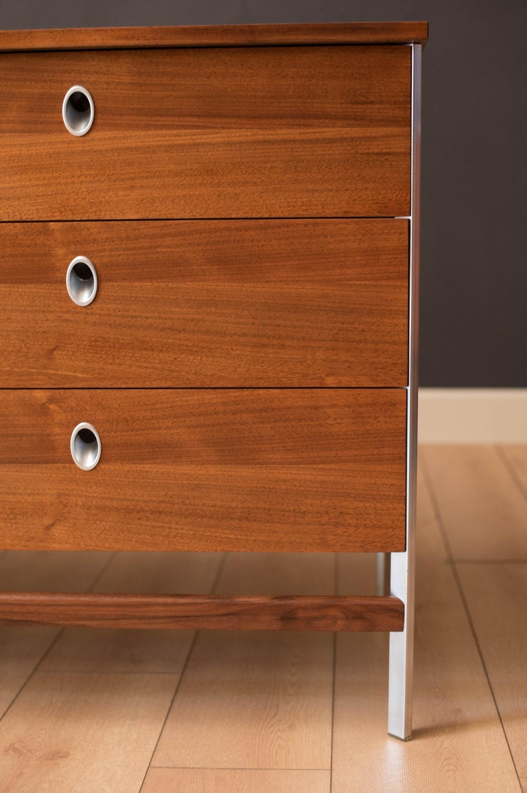 North American Vintage California Modern Walnut and Aluminum Six Drawer Dresser For Sale