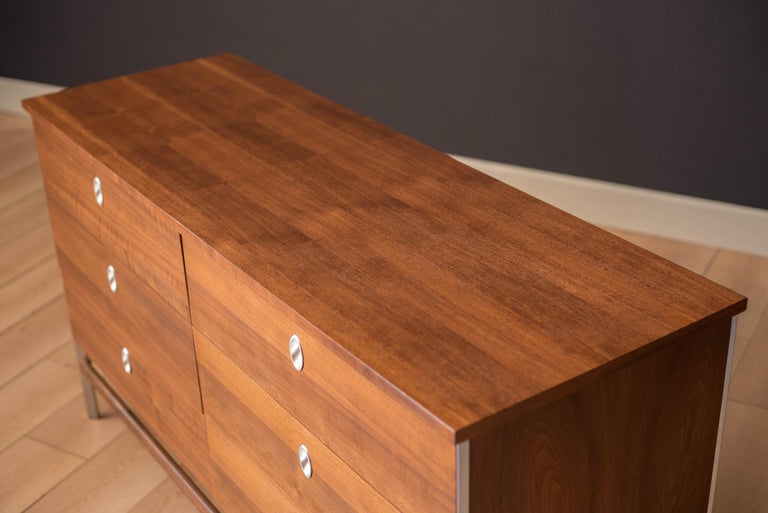 Mid-20th Century Vintage California Modern Walnut and Aluminum Six Drawer Dresser For Sale