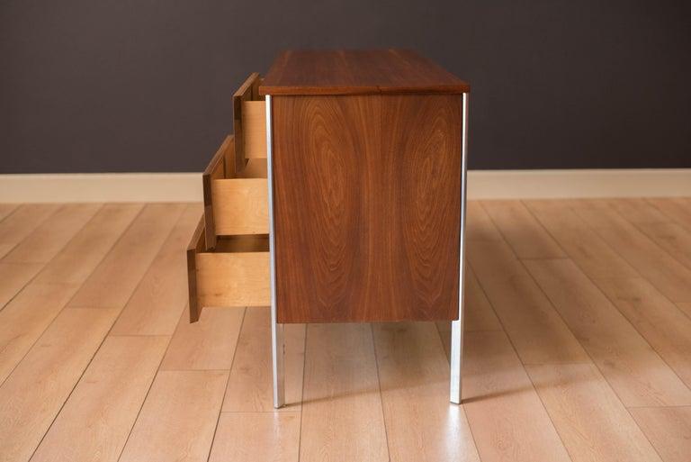 Steel Vintage California Modern Walnut and Aluminum Six Drawer Dresser For Sale