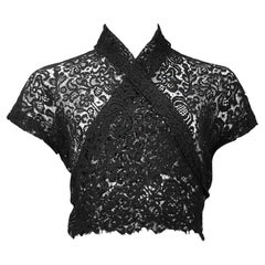 Vintage Callaghan by Romeo Gigli Black Lace Wrap Top