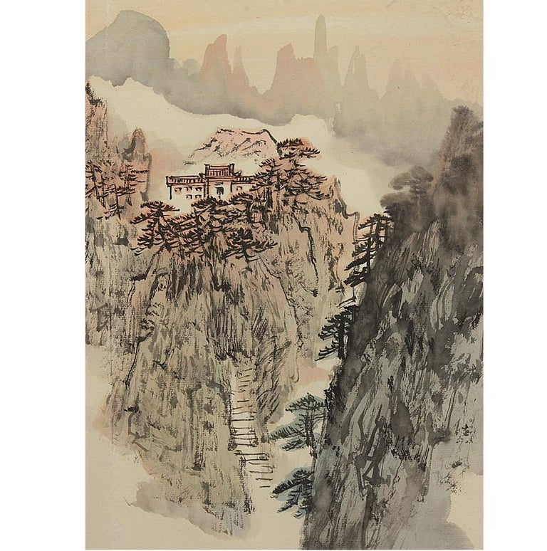 A set of Chinese paintings Perfect for vintage interiors  Condition Yomiuri Shimbun (the size of one view double-page spread) 43.0. × 32.0 cm.