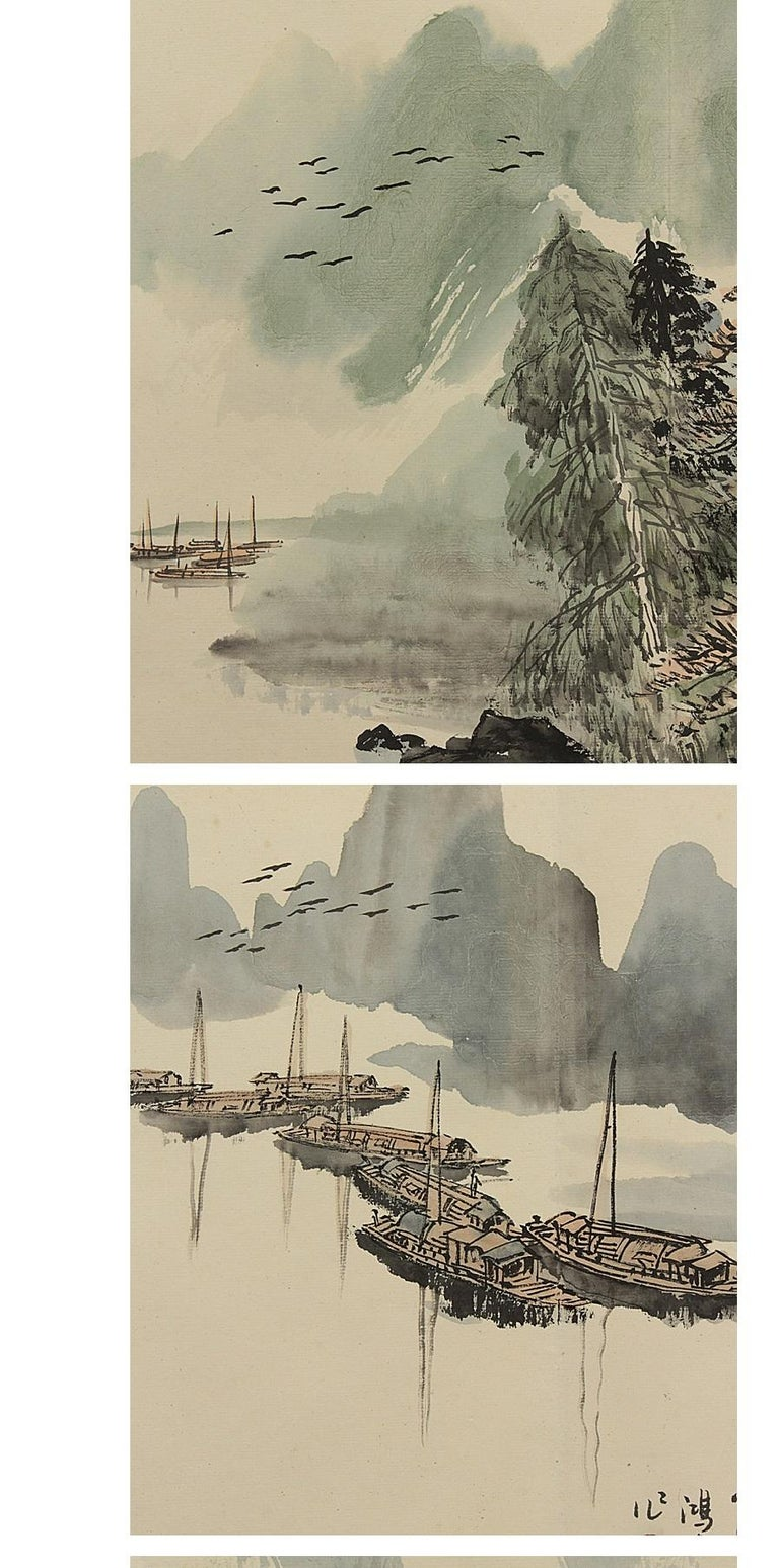 Paper Vintage, Calligraphy, Watercolor Paintings, Chinese Art, China, 20th Century For Sale
