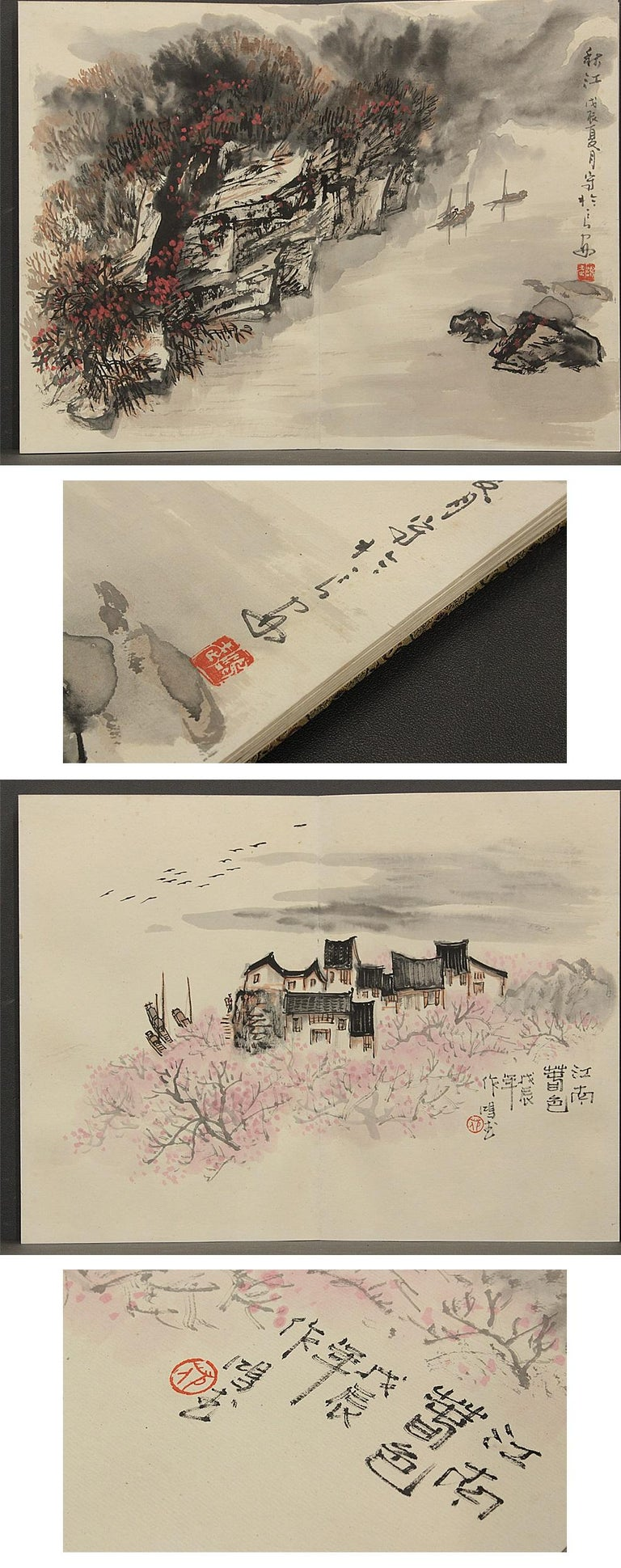 Vintage, Calligraphy, Watercolor Paintings, Chinese Art, China, 20th Century For Sale 5