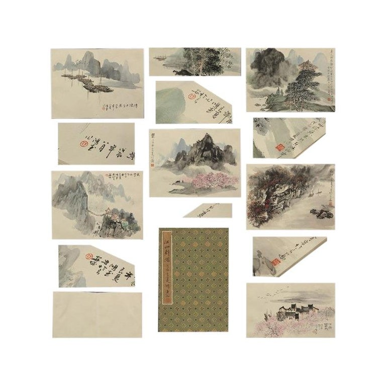 Vintage, Calligraphy, Watercolor Paintings, Chinese Art, China, 20th Century For Sale