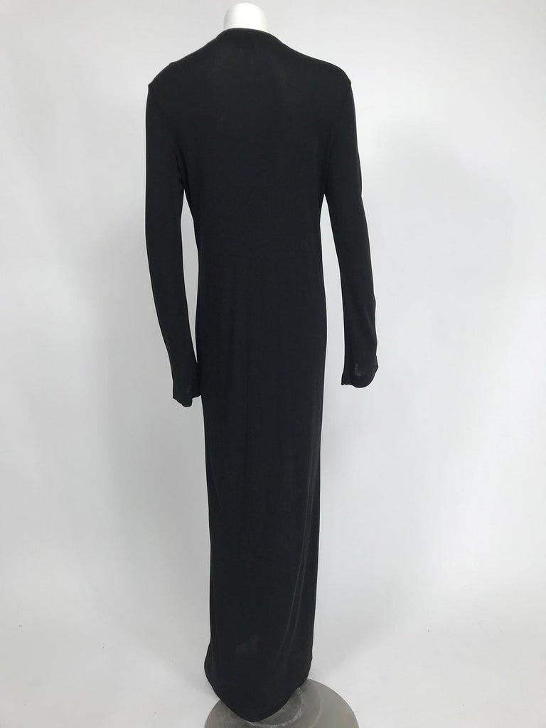 Vintage Calvin Klein Minimalist Black Jersey Maxi Coat 1990s In Good Condition For Sale In West Palm Beach, FL