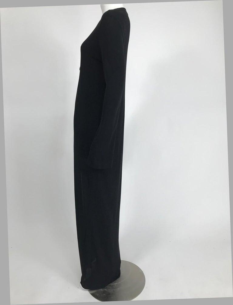 Women's Vintage Calvin Klein Minimalist Black Jersey Maxi Coat 1990s For Sale