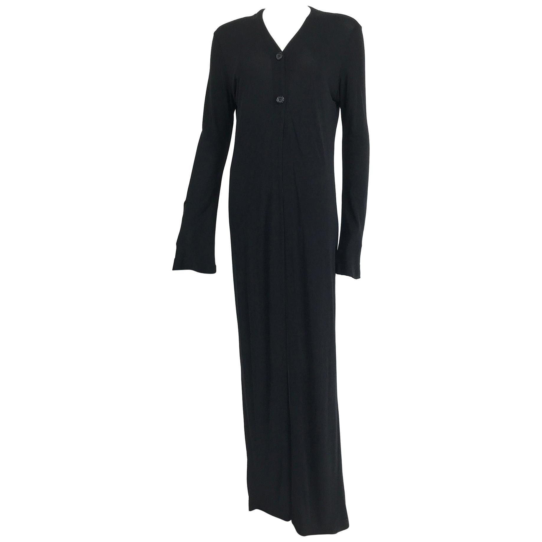 Vintage Calvin Klein Minimalist Black Jersey Maxi Coat 1990s
