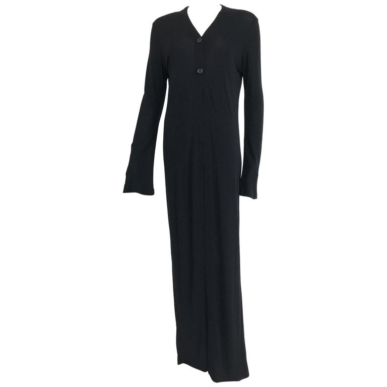 Vintage Calvin Klein Minimalist Black Jersey Maxi Coat 1990s For Sale