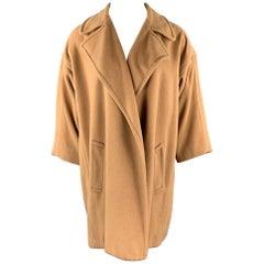 Vintage CALVIN KLEIN Size 8 Camel Open Front Notch Lapel Coat