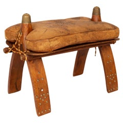 Vintage Camel Leather Saddle Stool Ottoman, Morocco c.1960