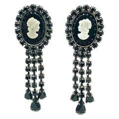 Vintage Cameo & Crystal Droplet Earrings 1990s