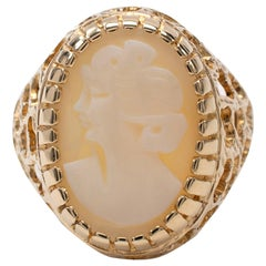 Vintage Cameo Ring Open Basket Setting 9 Karat Yellow Gold Dated London 1977